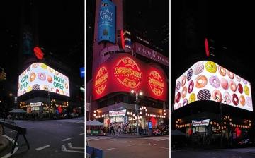 Daktronics Corner-Wrapping LED Video Display Helps Krispy Kreme Stake Their Claim in Times Square