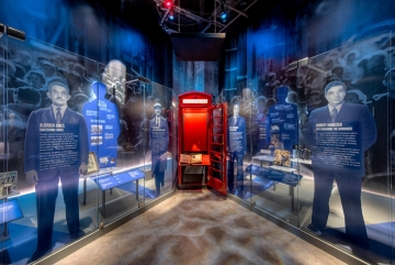G&A at DC's New International Spy Museum  (image: exhibit with red phone booth)