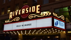 Riverside Theater marquee, Milwaukee, by Poblocki Sign Co.