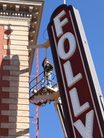Photo of Folly Theater marquee sign