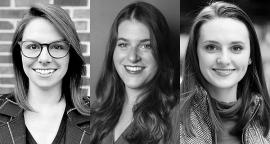 L-R: Leviathan Account Manager Meg Miller, Art Director Mackenzie Suben, and Designer Morgan Itterly