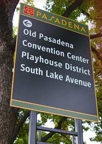 Photo of Old Pasadena wayfinding signage