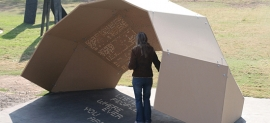 """The One-Day Poem Pavilion is a site-specific installation that harnesses the rotation of the earth to create """"shadow poems"""" projected through hundreds of perforations in the dome-shaped shelter."""