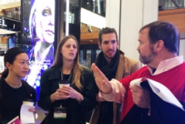 Craig Martin, Reality Interactive, takes Xlab 2015 attendees on a Experiential Digital Retail walking tour in NYC