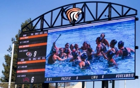 University of the Pacific Adds Daktronics LED Display for Aquatics (image: screen, pool)