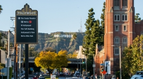 Hunt Design Wayfinding in Tinseltown (image by Matt Givot Photography: sign with Hollywood sign in background)