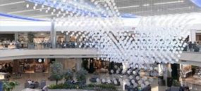 view looking at the art installation airFIELD by UEBERSEE at Atlanta Hartsfield Jackson International Airport