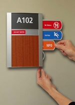 Photograph of APCO Signs InfoLock display system