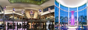 Photos of LED displays in the Grand Court at the Mall at Millenia