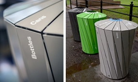 Photo of ecofriendly trash bins designed for Central Park