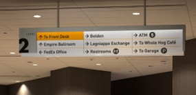 Photo of wayfinding at New Orleans Hyatt