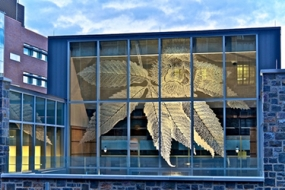 Photo of Lehigh University's STEPS center etched glass panels