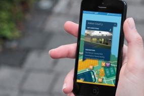 Photo of Mercer County Park digital wayfinding app
