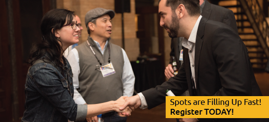 "Two people shaking hands, networking. ""Spots are filling up fast! Register today!"""