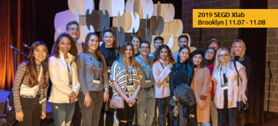 2019 SEGD Xlab takes place in Brooklyn, NY Nov. 7-8. (image displays a crowd a students at Xlab 2018)